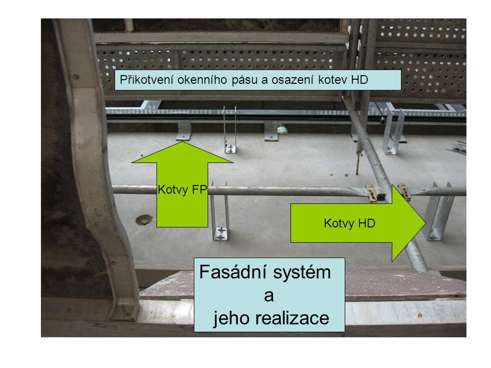 Fasádní systém a jeho realizace Kotvy FP Přikotvení okenního pásu a osazení kotev HD Kotvy HD