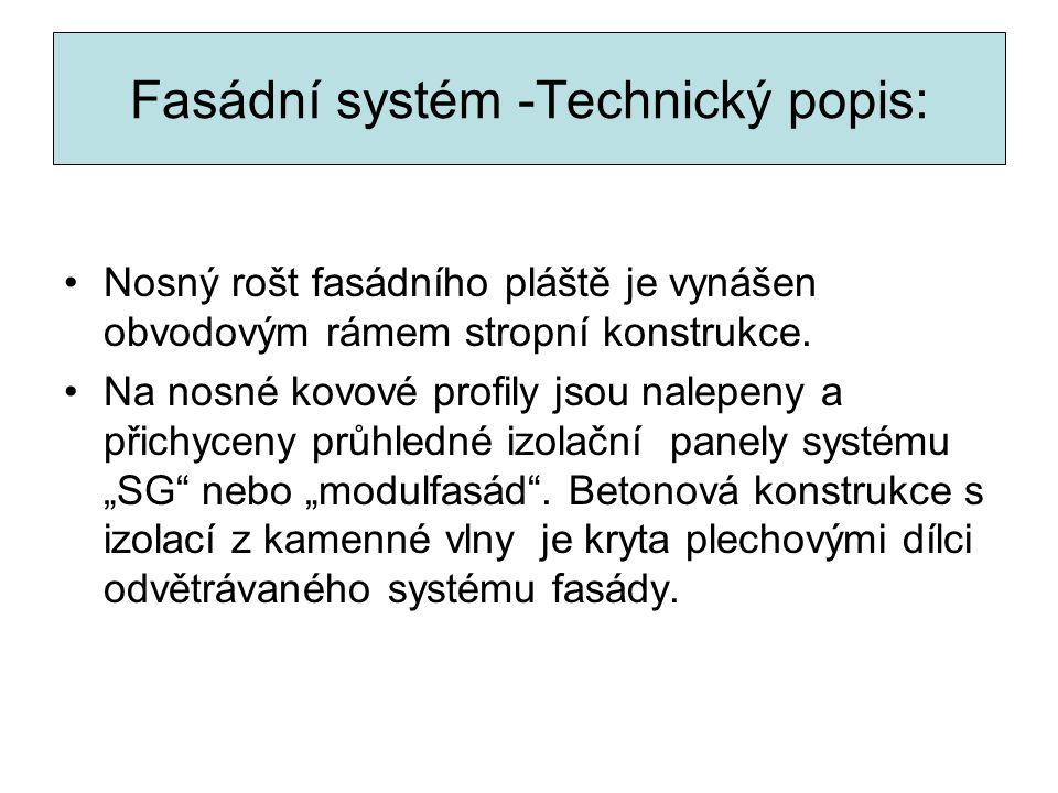 Fasádní systém -Technický popis: Nosný rošt fasádního pláště je vynášen obvodovým rámem stropní konstrukce. Na nosné kovové profily jsou nalepeny a př