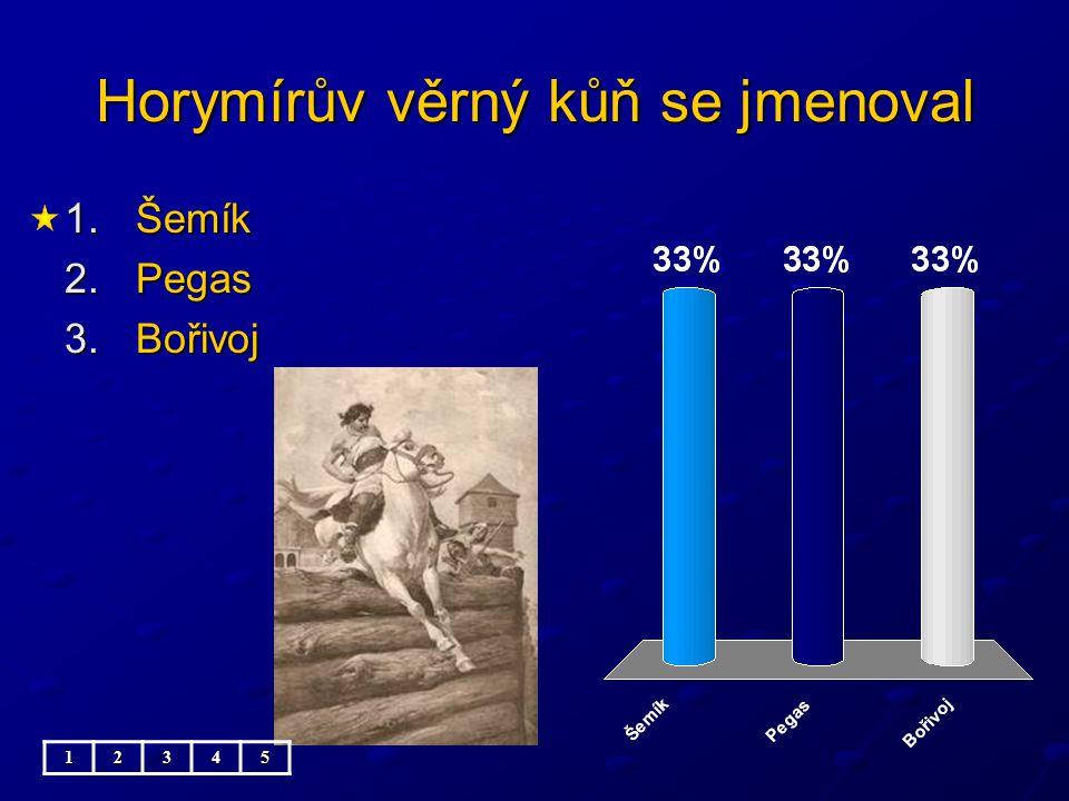 Horymírův věrný kůň se jmenoval 1.Šemík 2.Pegas 3.Bořivoj 12345