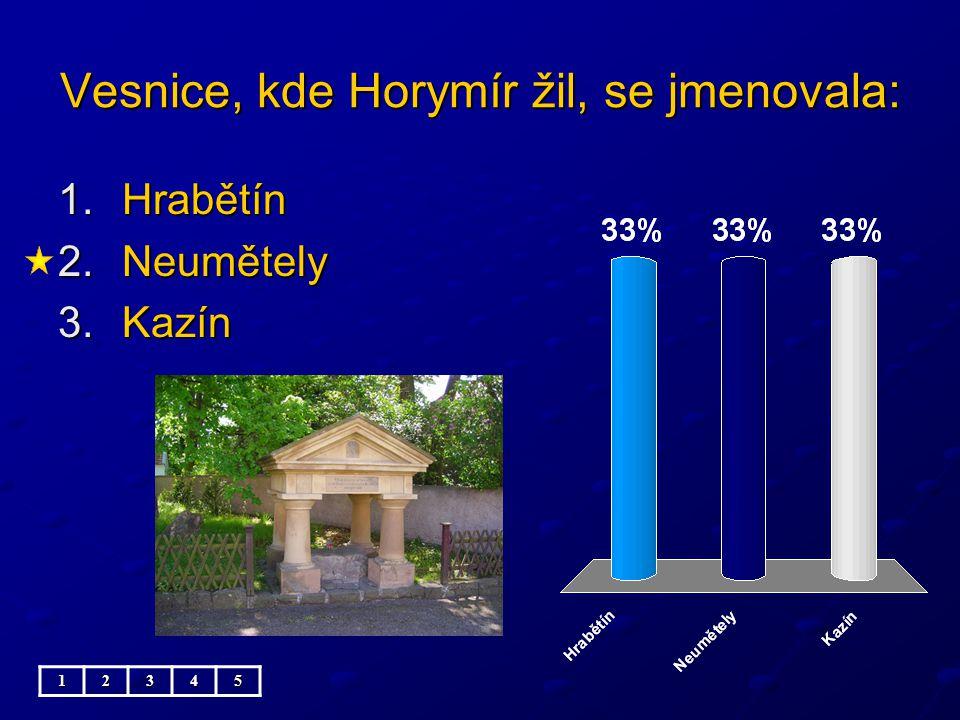 Vesnice, kde Horymír žil, se jmenovala: 1.Hrabětín 2.Neumětely 3.Kazín 12345
