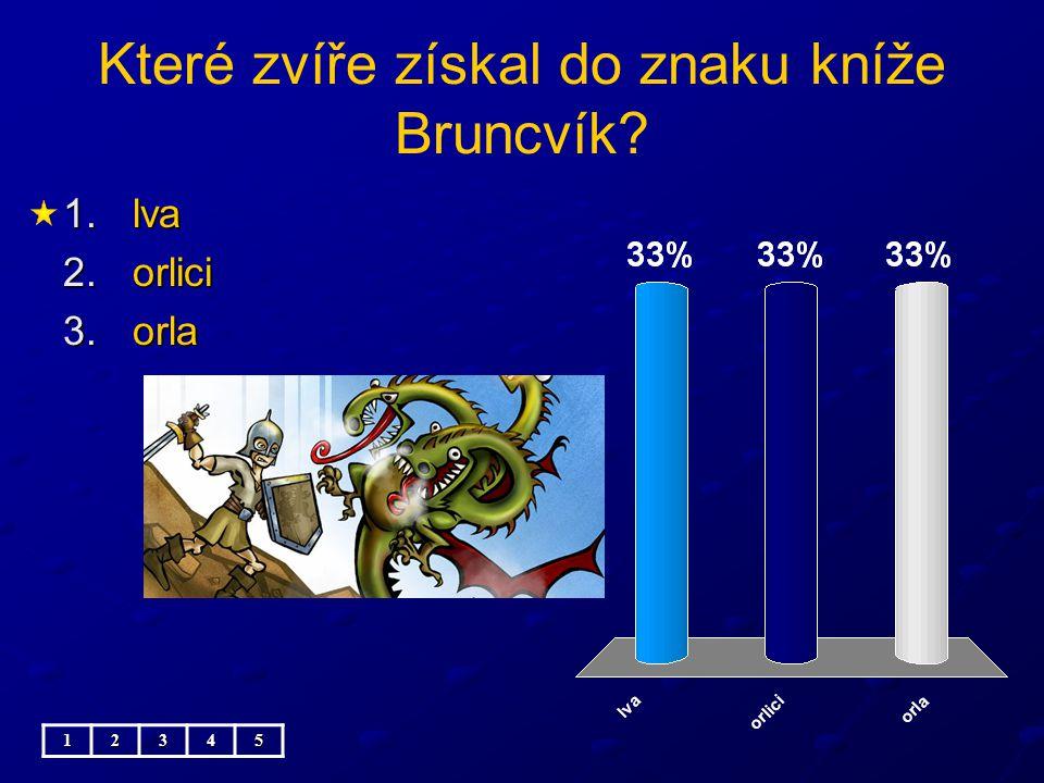 Které zvíře získal do znaku kníže Bruncvík? 1.lva 2.orlici 3.orla 12345