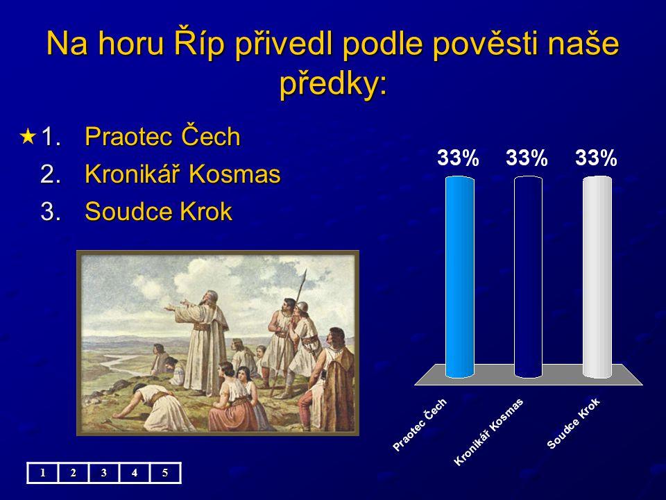 Na horu Říp přivedl podle pověsti naše předky: 1.Praotec Čech 2.Kronikář Kosmas 3.Soudce Krok 12345