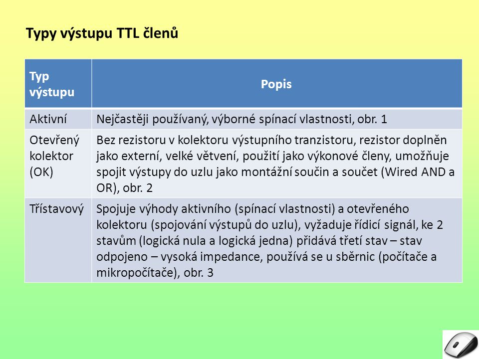 Typy výstupu TTL členů Typ výstupu Popis AktivníNejčastěji používaný, výborné spínací vlastnosti, obr. 1 Otevřený kolektor (OK) Bez rezistoru v kolekt