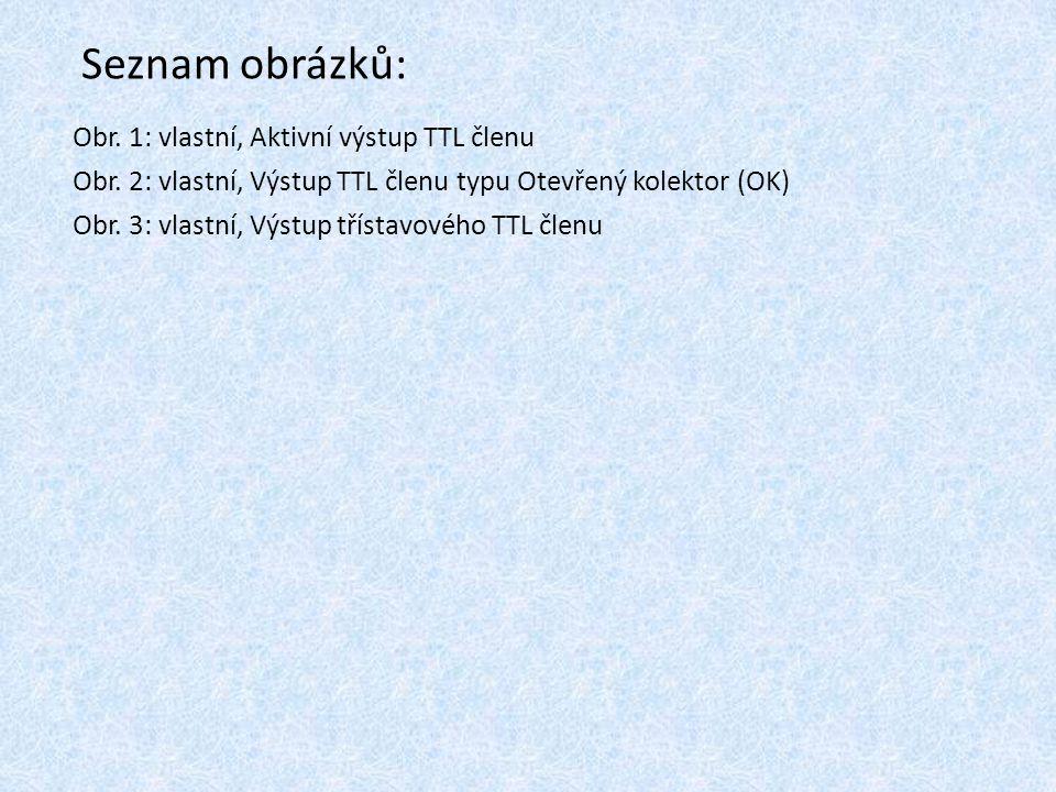 Seznam obrázků: Obr. 1: vlastní, Aktivní výstup TTL členu Obr. 2: vlastní, Výstup TTL členu typu Otevřený kolektor (OK) Obr. 3: vlastní, Výstup třísta