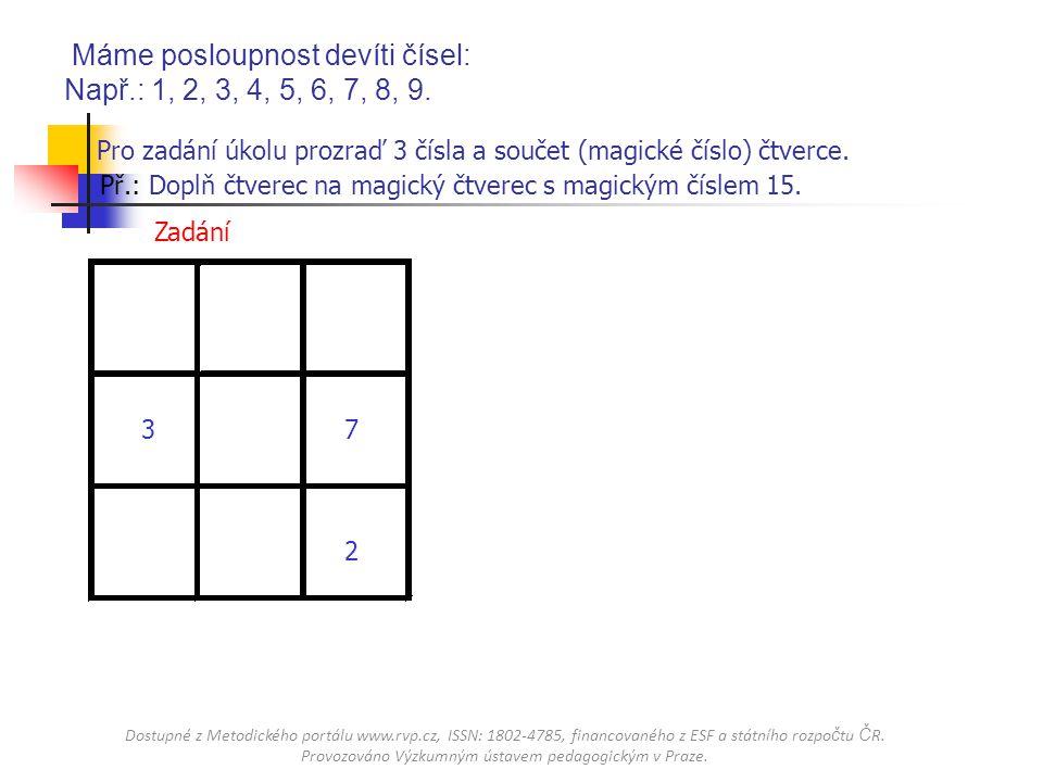 Pro zadání úkolu prozraď 3 čísla a součet (magické číslo) čtverce. Př.: Doplň čtverec na magický čtverec s magickým číslem 15. 2 37 ZadáníŘešení Máme