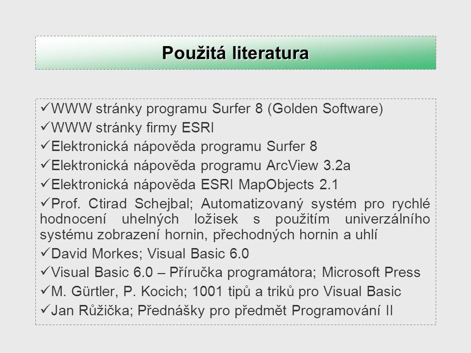 WWW stránky programu Surfer 8 (Golden Software) WWW stránky firmy ESRI Elektronická nápověda programu Surfer 8 Elektronická nápověda programu ArcView