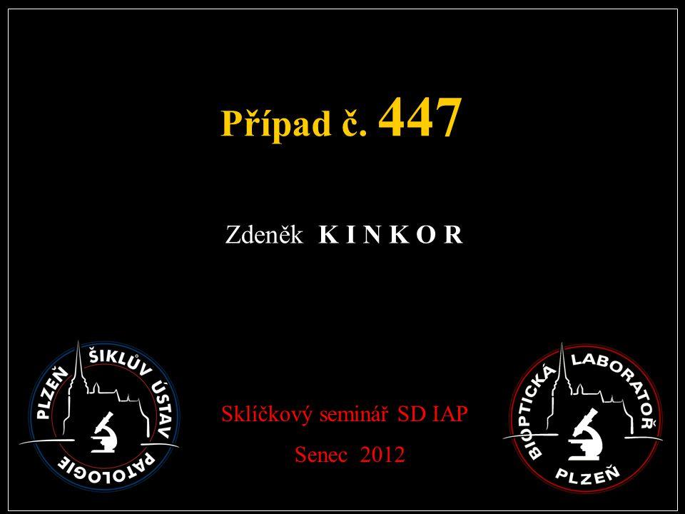 Případ č. 447 Zdeněk K I N K O R Sklíčkový seminář SD IAP Senec 2012