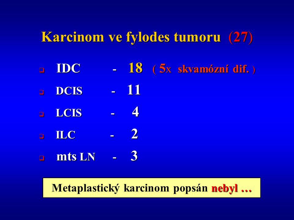 Karcinom ve fylodes tumoru (27)  IDC - 18 ( 5 x skvamózní dif.