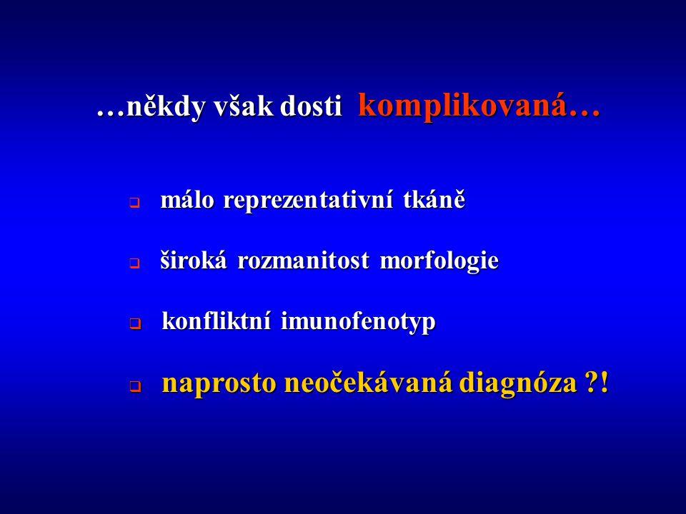  m álo reprezentativní tkáně  š iroká rozmanitost morfologie  k onfliktní imunofenotyp  n aprosto neočekávaná diagnóza ?!