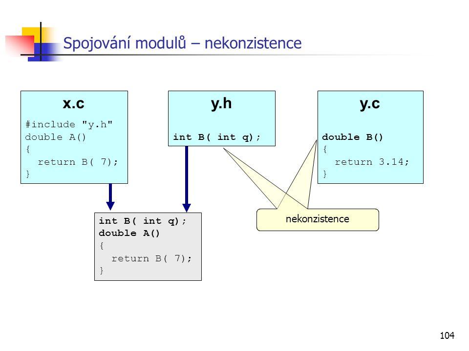 104 Spojování modulů – nekonzistence nekonzistence x.c #include