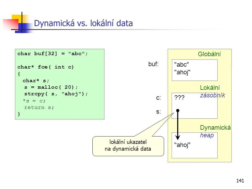 141 Dynamická vs. lokální data char buf[32] =
