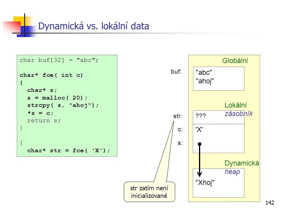 142 Dynamická vs. lokální data char buf[32] =