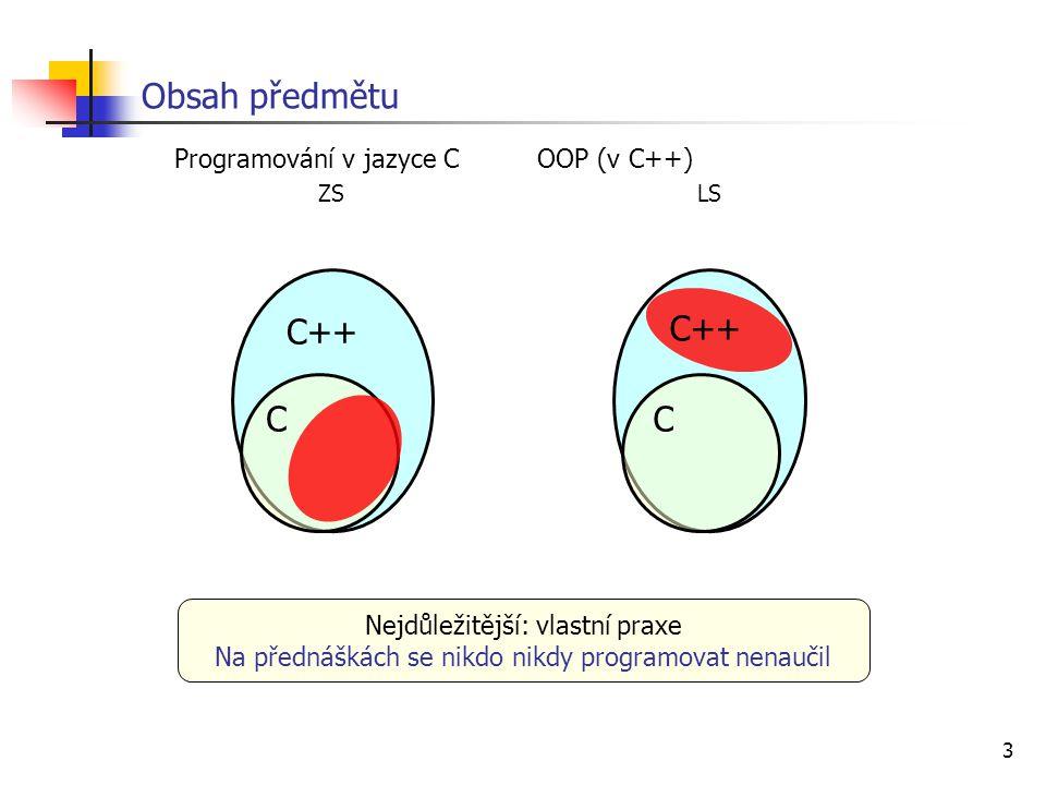 3 Programování v jazyce C OOP (v C++) ZS LS Obsah předmětu C++ CC Nejdůležitější: vlastní praxe Na přednáškách se nikdo nikdy programovat nenaučil