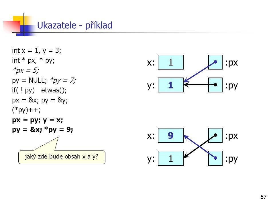 57 Ukazatele - příklad int x = 1, y = 3; int * px, * py; *px = 5; py = NULL; *py = 7; if( ! py) etwas(); px = &x; py = &y; (*py)++; px = py; y = x; py