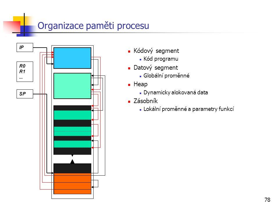 78 Organizace paměti procesu Kódový segment Kód programu Datový segment Globální proměnné Heap Dynamicky alokovaná data Zásobník Lokální proměnné a pa