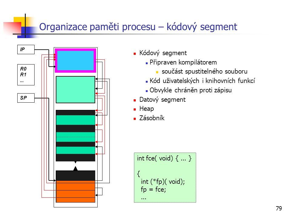 79 Organizace paměti procesu – kódový segment Kódový segment Připraven kompilátorem součást spustitelného souboru Kód uživatelských i knihovních funkc