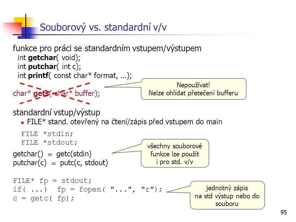 95 Souborový vs. standardní v/v funkce pro práci se standardním vstupem/výstupem int getchar( void); int putchar( int c); int printf( const char* form