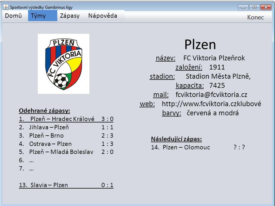 DomůTýmyZápasyNápověda Plzen název:FC Viktoria Plzeňrok založení: 1911 stadion: Stadion Města Plzně, kapacita: 7425 mail: fcviktoria@fcviktoria.cz web