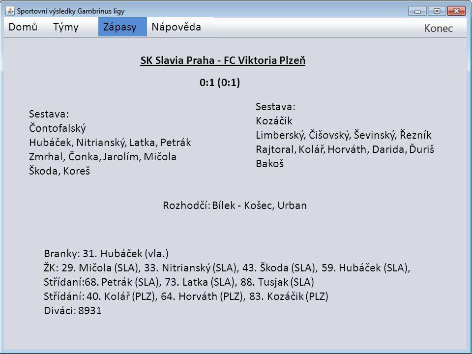 DomůTýmyZápasyNápověda SK Slavia Praha - FC Viktoria Plzeň Sestava: Čontofalský Hubáček, Nitrianský, Latka, Petrák Zmrhal, Čonka, Jarolím, Mičola Škod