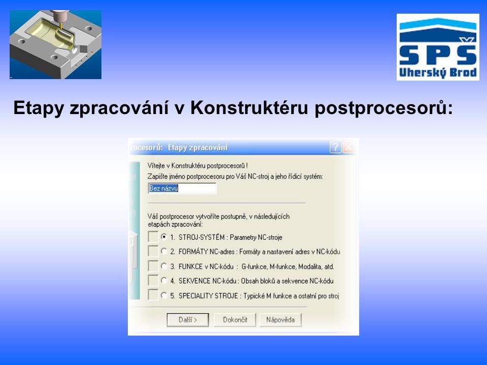 Etapy zpracování v Konstruktéru postprocesorů: