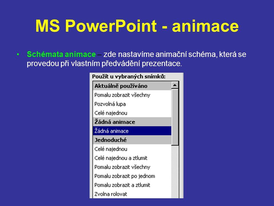 MS PowerPoint - animace Tlačítka akcí – pomocí této volby lze umístit do prezentace grafické tlačítko, kterému můžeme přiřadit akci, jež se provede po kliknutí na toto tlačítko.