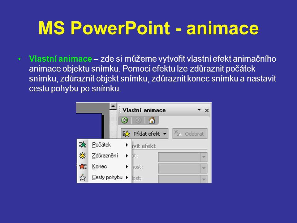 MS PowerPoint - animace Schémata animace – zde nastavíme animační schéma, která se provedou při vlastním předvádění prezentace.
