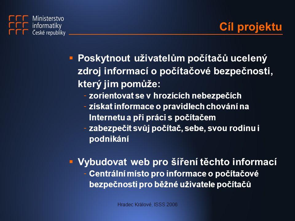 Hradec Králové, ISSS 2006 Cíl projektu  Poskytnout uživatelům počítačů ucelený zdroj informací o počítačové bezpečnosti, který jim pomůže: - zorientovat se v hrozících nebezpečích - získat informace o pravidlech chování na Internetu a při práci s počítačem - zabezpečit svůj počítač, sebe, svou rodinu i podnikání  Vybudovat web pro šíření těchto informací - Centrální místo pro informace o počítačové bezpečnosti pro běžné uživatele počítačů