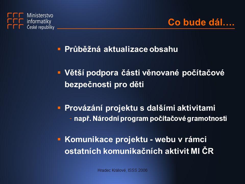 Hradec Králové, ISSS 2006 Co bude dál….