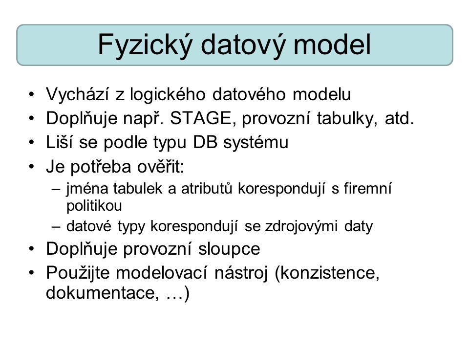 Fyzický datový model Vychází z logického datového modelu Doplňuje např. STAGE, provozní tabulky, atd. Liší se podle typu DB systému Je potřeba ověřit: