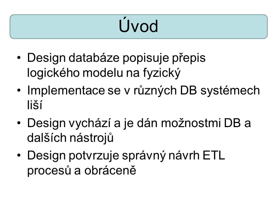 Úvod Design databáze popisuje přepis logického modelu na fyzický Implementace se v různých DB systémech liší Design vychází a je dán možnostmi DB a da
