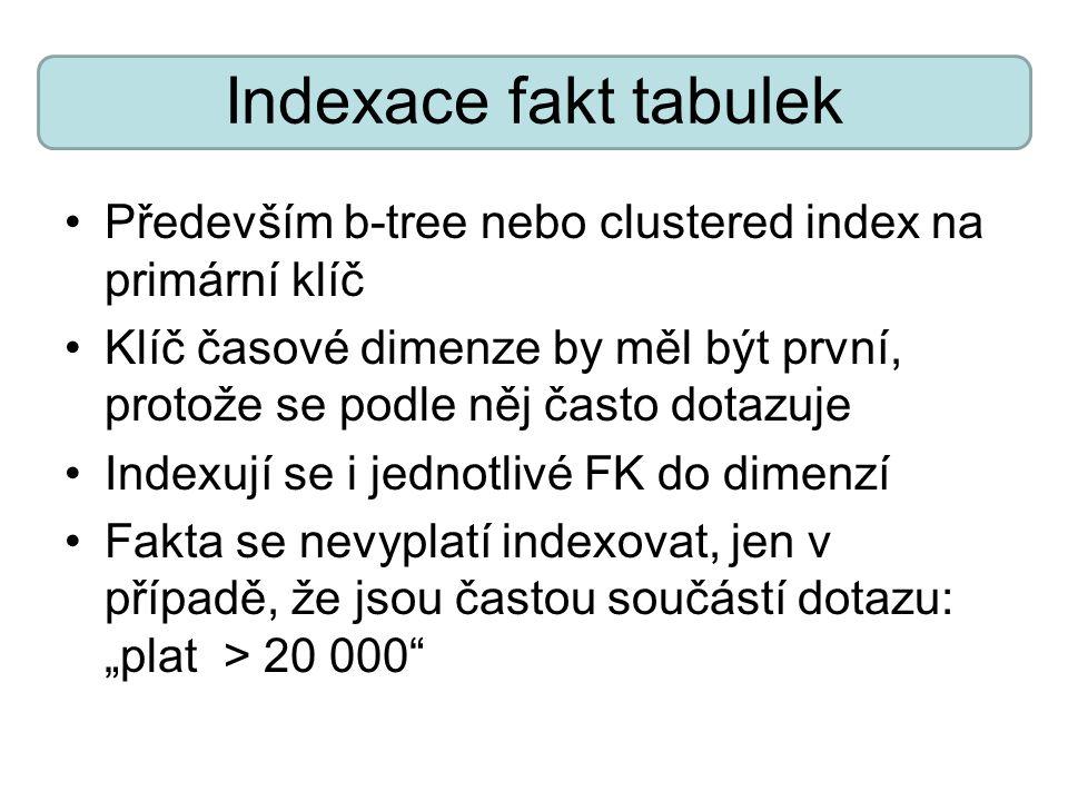 Indexace fakt tabulek Především b-tree nebo clustered index na primární klíč Klíč časové dimenze by měl být první, protože se podle něj často dotazuje