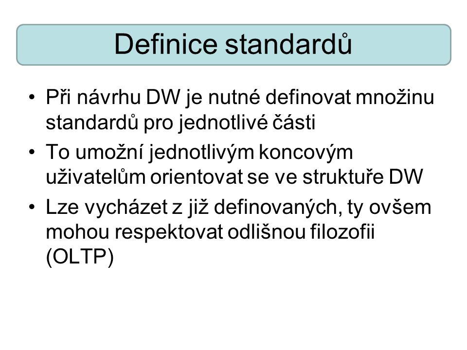 Definice standardů Při návrhu DW je nutné definovat množinu standardů pro jednotlivé části To umožní jednotlivým koncovým uživatelům orientovat se ve