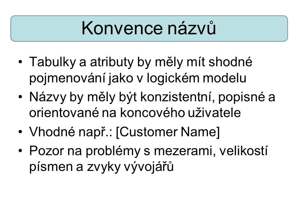 Konvence názvů Tabulky a atributy by měly mít shodné pojmenování jako v logickém modelu Názvy by měly být konzistentní, popisné a orientované na konco