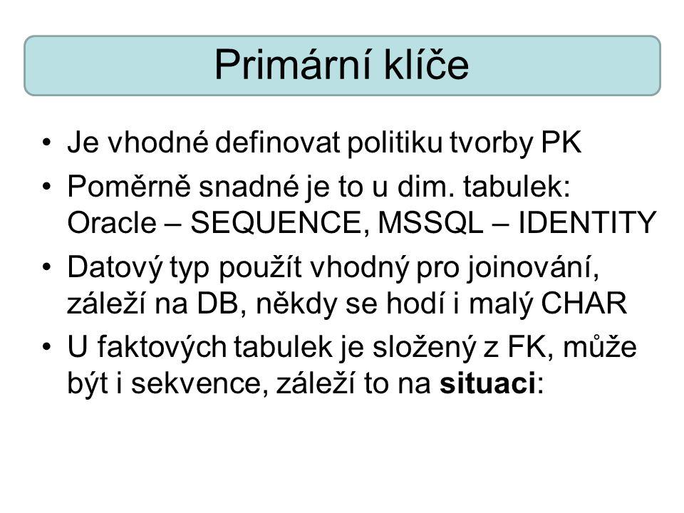 Primární klíče Je vhodné definovat politiku tvorby PK Poměrně snadné je to u dim. tabulek: Oracle – SEQUENCE, MSSQL – IDENTITY Datový typ použít vhodn