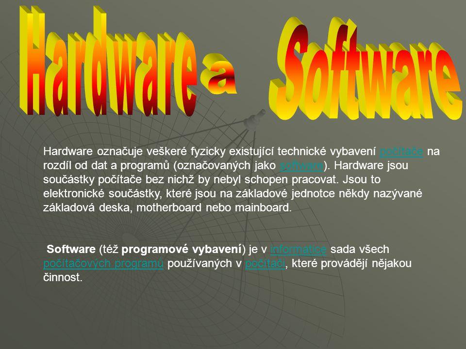 Hardware označuje veškeré fyzicky existující technické vybavení počítače na rozdíl od dat a programů (označovaných jako software). Hardware jsou součá
