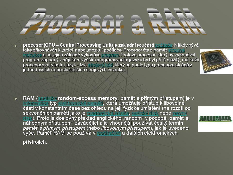 """ procesor (CPU – Central Processing Unit) je základní součástí počítače. Někdy bývá také přirovnáván k """"srdci"""" nebo """"mozku"""" počítače. Procesor čte z"""