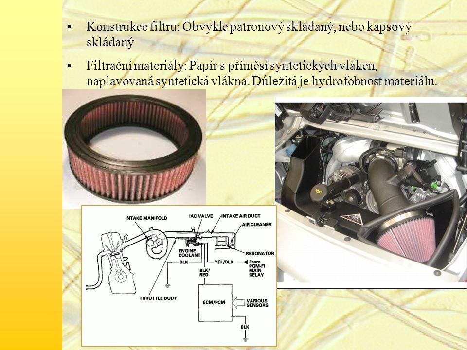 Konstrukce filtru: Obvykle patronový skládaný, nebo kapsový skládaný Filtrační materiály: Papír s příměsí syntetických vláken, naplavovaná syntetická vlákna.