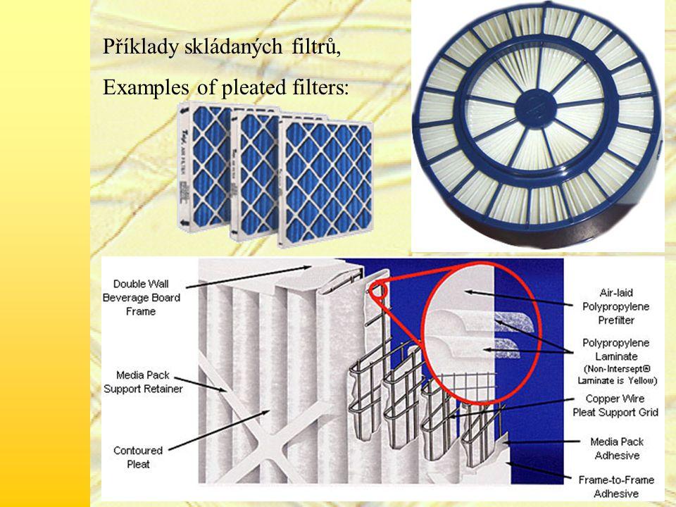 Příklady skládaných filtrů, Examples of pleated filters: