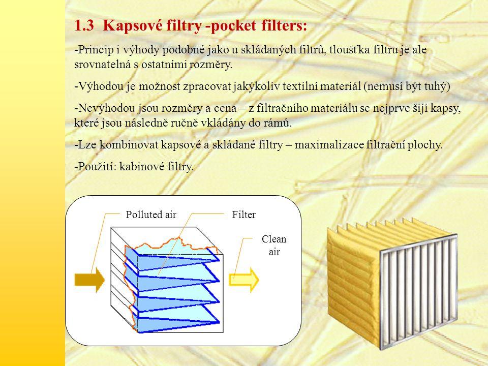 1.3 Kapsové filtry -pocket filters: -Princip i výhody podobné jako u skládaných filtrů, tloušťka filtru je ale srovnatelná s ostatními rozměry.