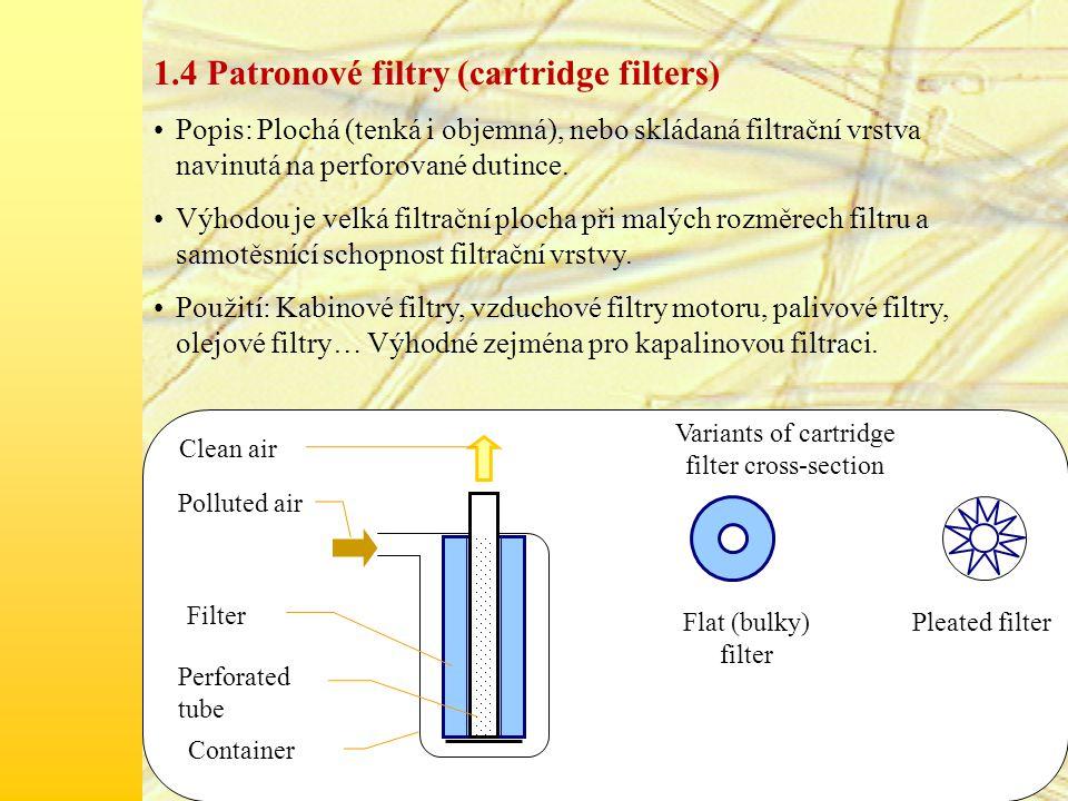 Speciální typ patronového filtru: Kónický filtr (Conical filter) Výhoda: Díky speciálnímu tvaru malý rozměr, velký povrch, menší zakřivení proudnic při průtoku.