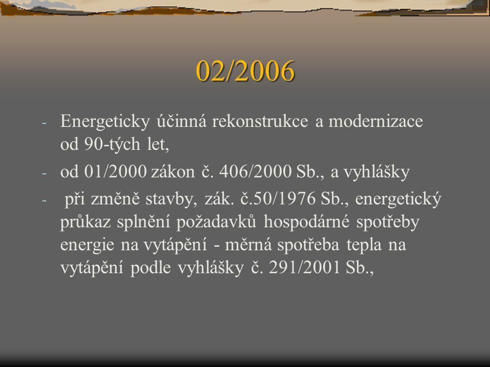 02/2006 - Energeticky účinná rekonstrukce a modernizace od 90-tých let, - od 01/2000 zákon č. 406/2000 Sb., a vyhlášky - při změně stavby, zák. č.50/1