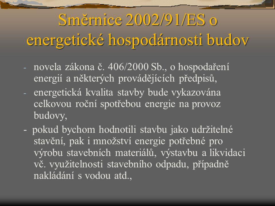 Směrnice 2002/91/ES o energetické hospodárnosti budov - novela zákona č. 406/2000 Sb., o hospodaření energií a některých provádějících předpisů, - ene
