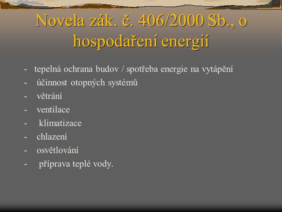 Novela zák. č. 406/2000 Sb., o hospodaření energií - tepelná ochrana budov / spotřeba energie na vytápění - účinnost otopných systémů - větrání - vent