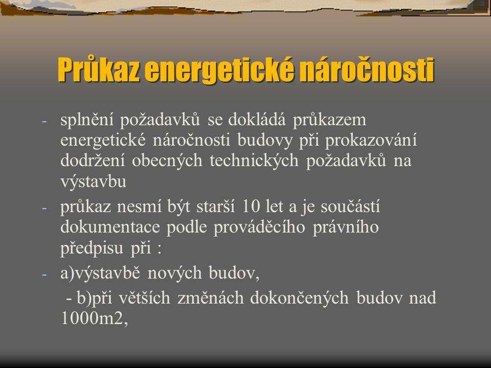 Průkaz energetické náročnosti - splnění požadavků se dokládá průkazem energetické náročnosti budovy při prokazování dodržení obecných technických poža