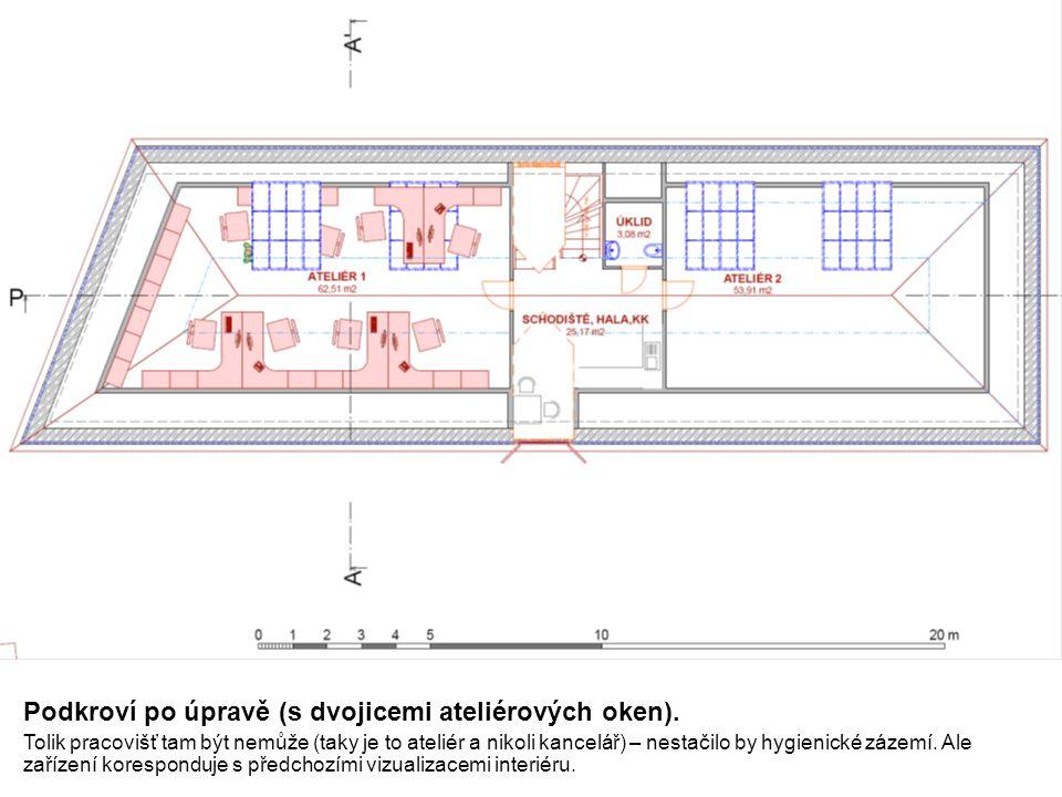 Podkroví po úpravě (s dvojicemi ateliérových oken).