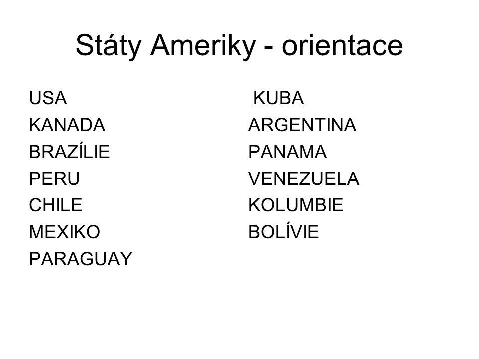 Státy Ameriky - orientace USA KANADA BRAZÍLIE PERU CHILE MEXIKO PARAGUAY KUBA ARGENTINA PANAMA VENEZUELA KOLUMBIE BOLÍVIE