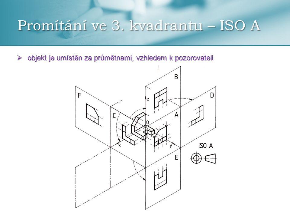 Promítání ve 3. kvadrantu – ISO A  objekt je umístěn za průmětnami, vzhledem k pozorovateli