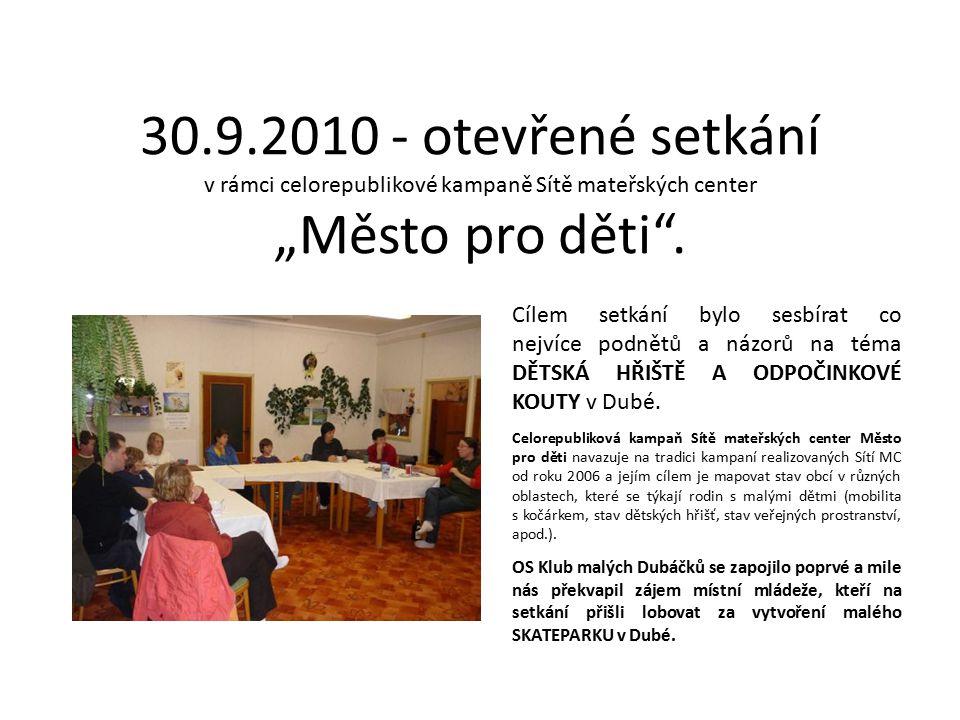 """30.9.2010 - otevřené setkání v rámci celorepublikové kampaně Sítě mateřských center """"Město pro děti"""". Cílem setkání bylo sesbírat co nejvíce podnětů a"""