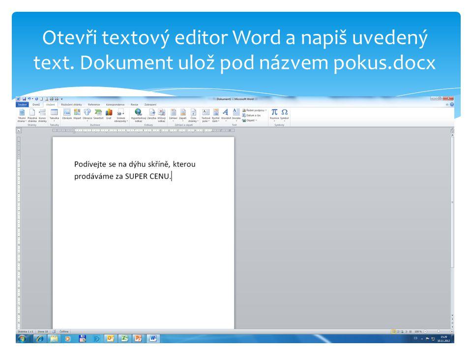 Otevři nový dokument, ulož ho pod názvem dýha.docx a vlož do něj pozadí – texturu.