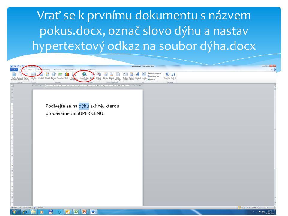 Nastavení hypertextového odkazu